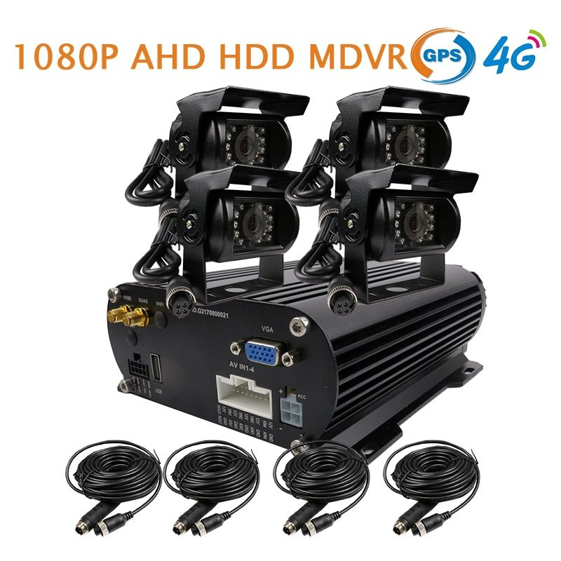Free Shipping 4 Channel GPS 4G 1080P AHD 2TB HDD Hard Disk SD Car DVR MDVR Video Recorder Realtime Monitor Rear View Car Camera