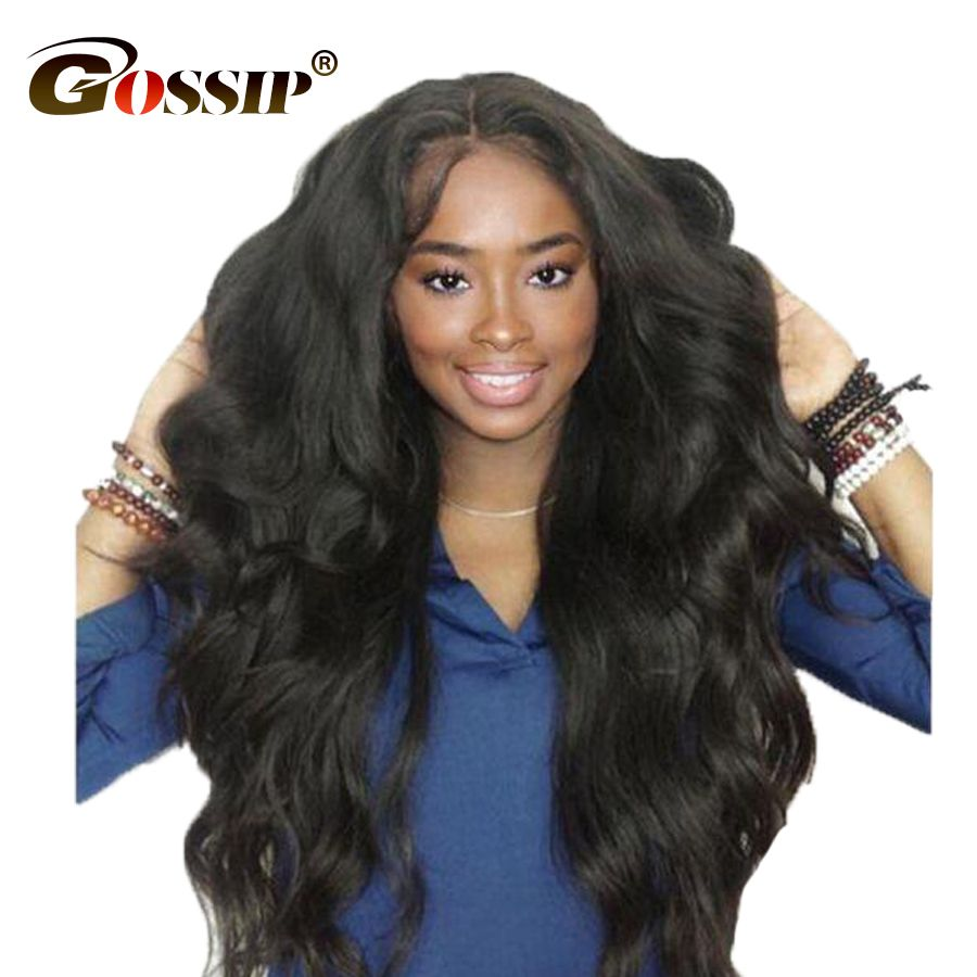Malaysian <font><b>Body</b></font> Wave Lace Front Human Hair Wigs For Black Women Gossip Hair Pre Plucked Lace Frontal Wig Non Remy Front Lace Wigs
