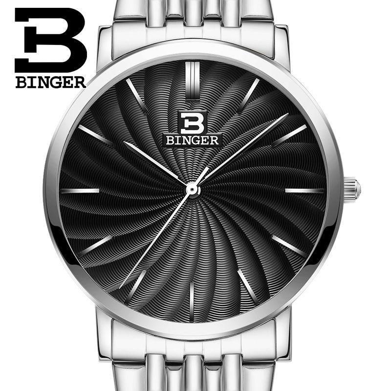 Ultradünne Armbanduhren Schweiz BINGER herren Uhr Luxus Marke Quarz Voller Edelstahl Wasserdichte Männliche Uhr B3051M-3