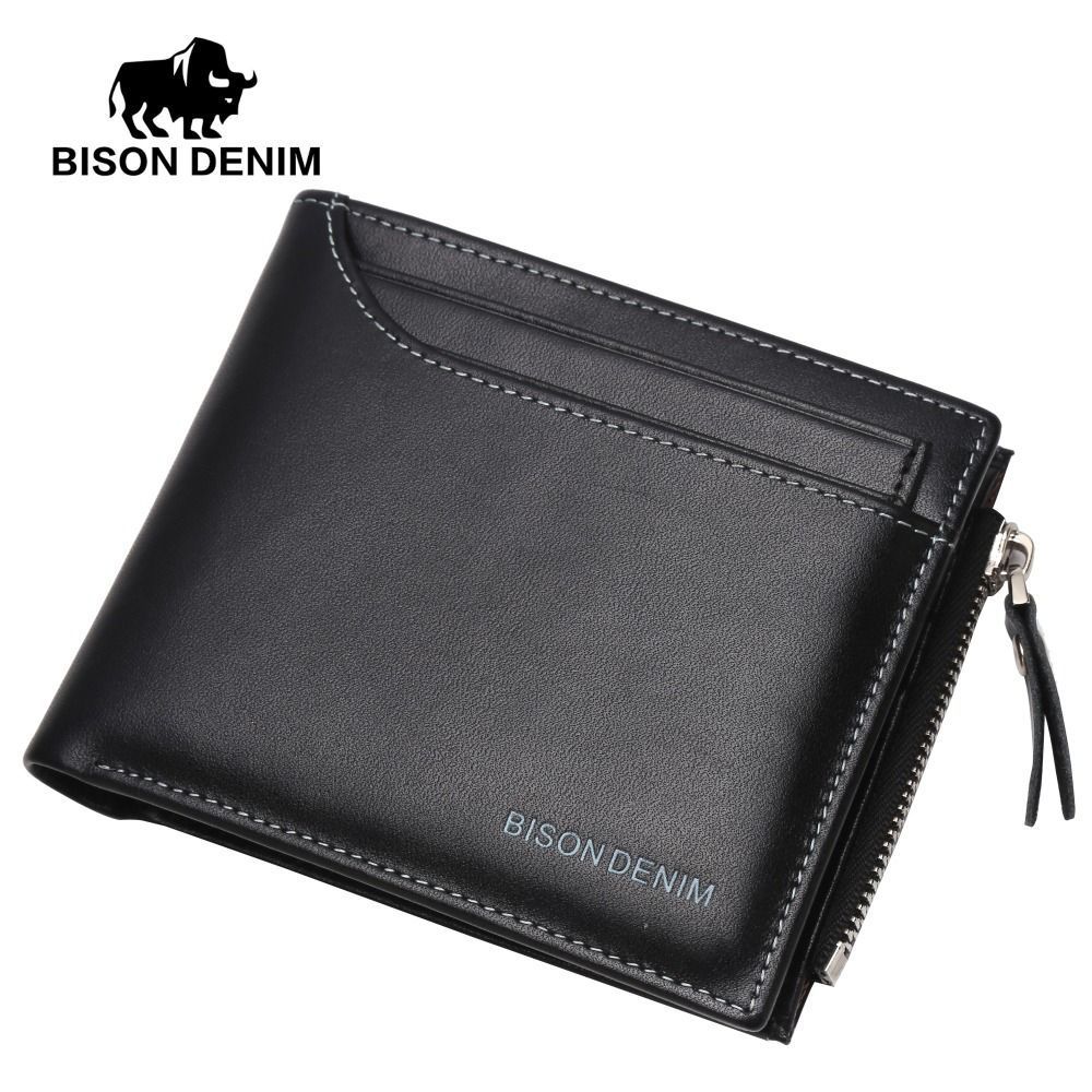 BISON DENIMLeather Wallet Male Bifold Slim Wallet Case Card Holder Men Wallet with Coin Purse Pockets Zipper Wallets black Men
