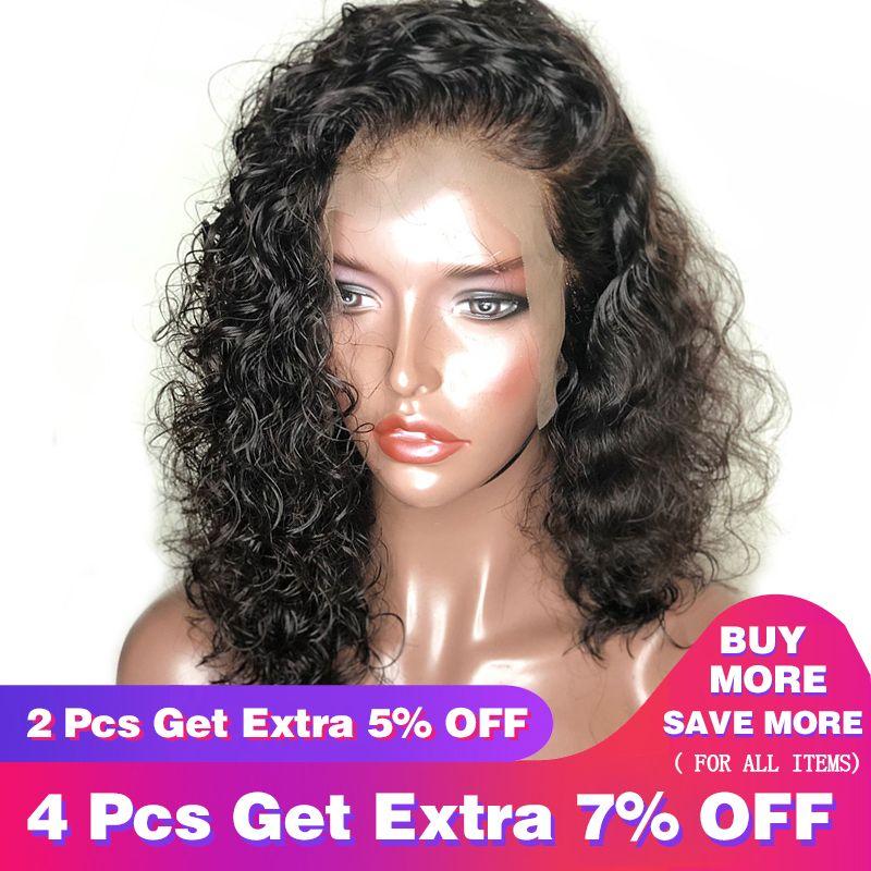 Vague profonde 360 Dentelle Frontale Perruque Pré Pincées Avec Bébé Cheveux Avant de Lacet Perruques de Cheveux Humains Pour Les Femmes 180% Densité noir Remy Perruques CARA