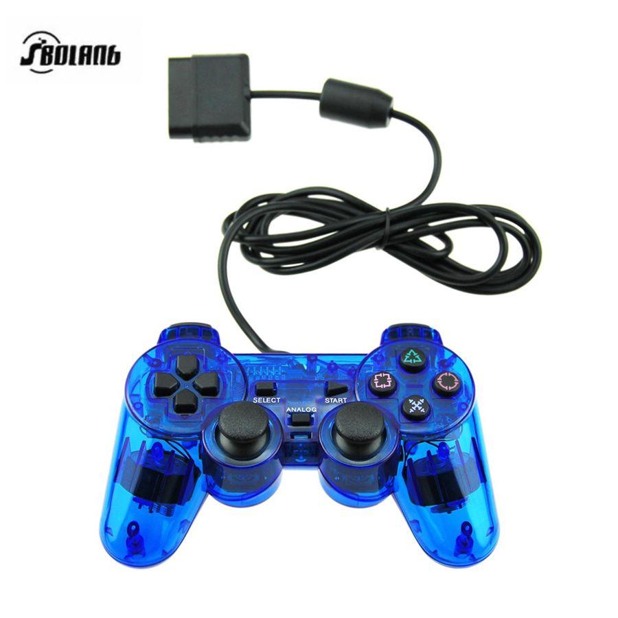 HAOBA 1.5 M Filaire Contrôleur Pour PS2 Double Vibration Joystick Gamepad Pour Playstation 2 Bleu Clair/Rouge