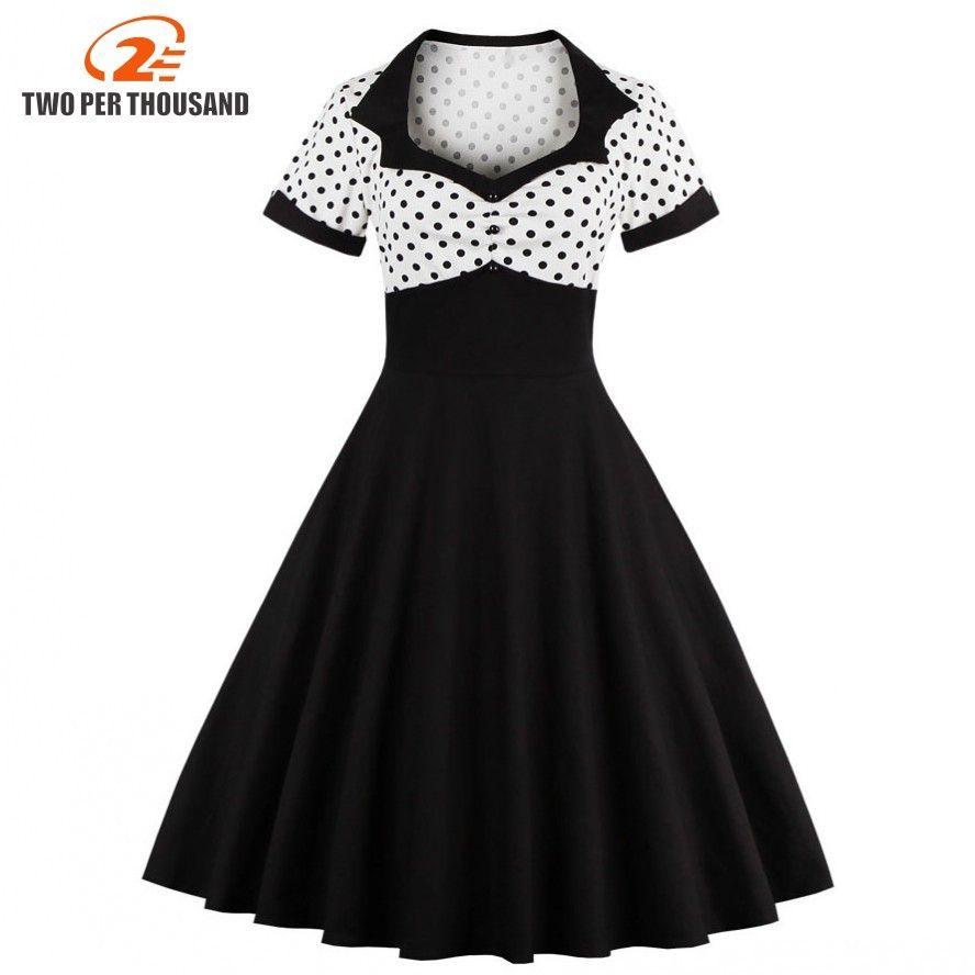 2018 été femmes robe rétro 1950 s 60 s robe femme à pois Pinup Rockabilly Sexy robes de soirée Vintage tunique robes Mujer