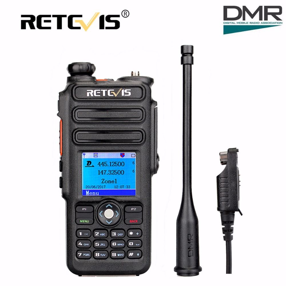 Doble Banda DMR Walkie Talkie Retevis RT82 GPS de Radio Digital 5 W VHF UHF Ham Radio Transceptor Hf + Programa de DMR IP67 A Prueba de agua Cable