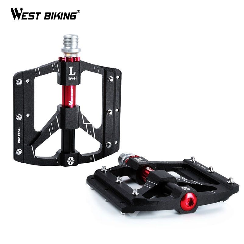 WEST BIKING 3 Bearings Bicycle Pedals Ultralight Anti-slip CNC Road MTB Bike Pedal Cycling Sealed Bearing Bike Pedals
