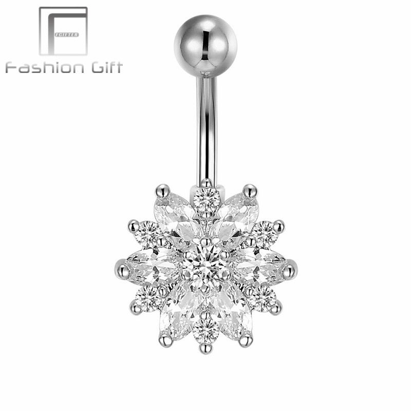G23 titanium bar gem fleur balancent nombril barbell stud anneaux belly button body piercing bijoux