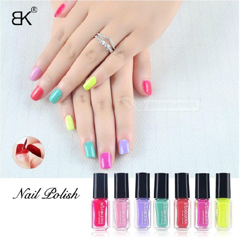 BK Brand 7Pcs/Set Water Base Peel Off Nail Polish Smell Faint Fragrance Nail Lacquer Pure And Glitter Sweet Colors Enamel Paint