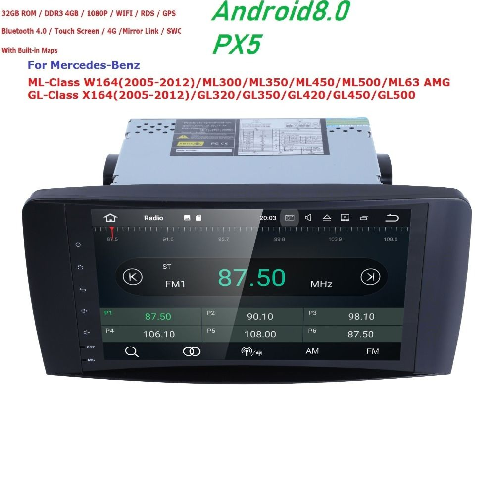 Android 8.0 2 Din 9Inch PX5 Car NO DVD Player For Mercedes Benz ML W164 ML350 ML500 GL X164 GL320 4GB+32GB Radio GPS navigation