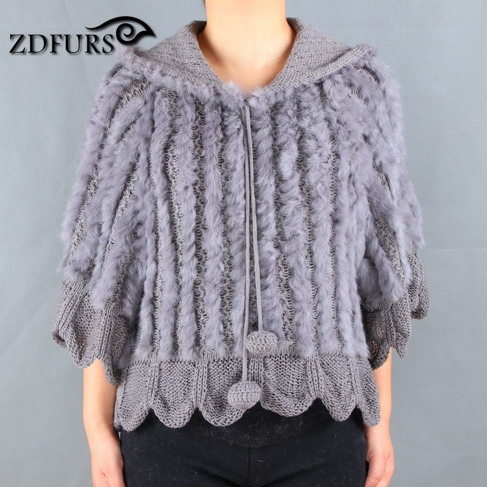 ZDFURS * Free shipping hot sale new Style handmade Knitted Rabbit Fur Poncho rabbit fur jacket with Hood