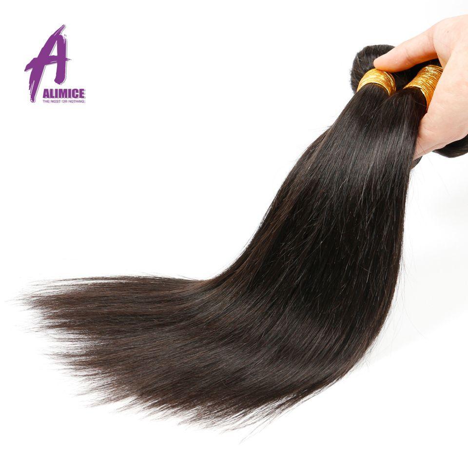 Alimice индийские прямые волосы переплетения 100% Человеческие волосы Связки 8-30 дюймов натуральный Цвет цельнокроеное платье-Волосы Remy машина д...