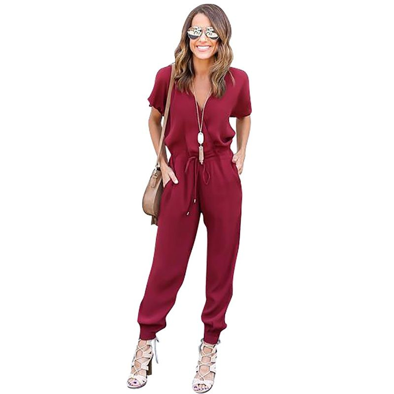 XiaGuoCai 2017 Deep V Sexy Women Jumpsuits Wine Red Boot Cut Chiffon Female Rompers Fashion Clothing G45 35