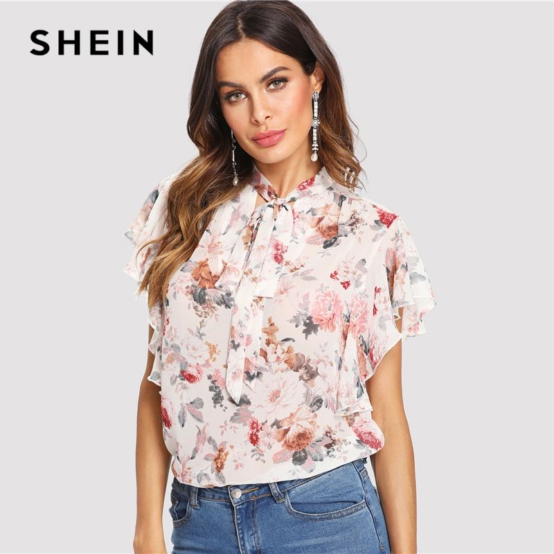 SHEIN Tie Neck Bow Ruffle Trim Floral Top Women <font><b>Stand</b></font> Collar Butterfly Sleeve Chiffon Blouse 2018 Summer Beach Casual Blouse