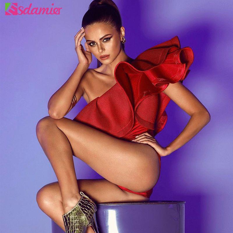 Vente chaude une épaule à volants femmes corps Sexy Body Top rouge noir blanc Body Combishort Femme une pièce corps pour les femmes