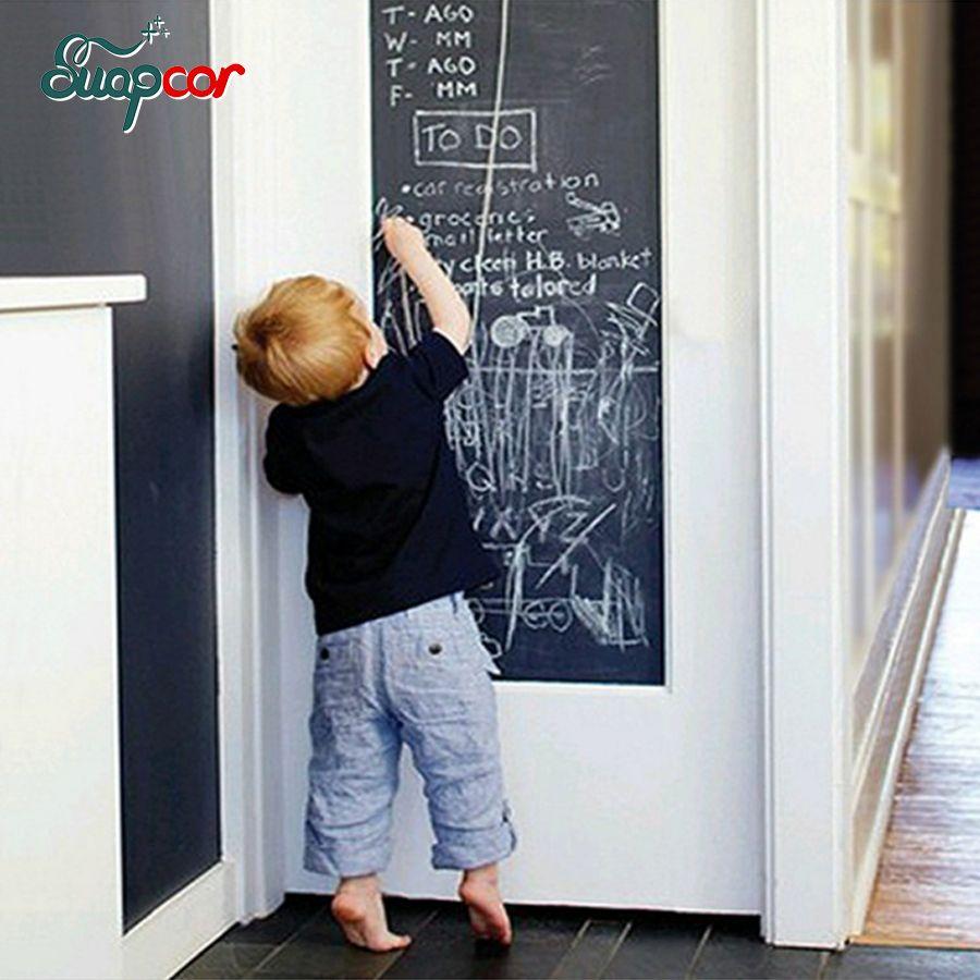 Tableau craie tableau noir Stickers muraux amovible vinyle dessiner décalcomanie Poster auto-adhésif papier peint Mural enfants chambre bureau décor à la maison