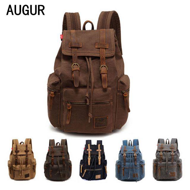 2017 fashion men women backpack vintage canvas backpack school bag men's travel bags large capacity travel backpack bag