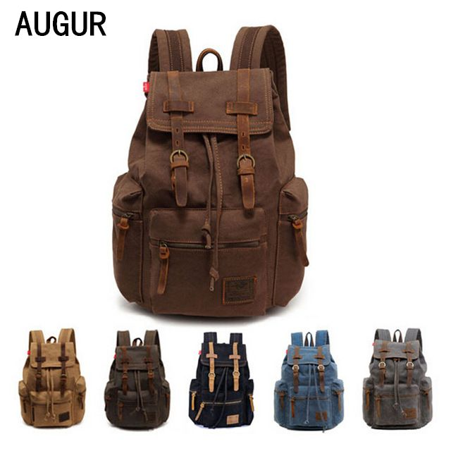 2017 fashion men women backpack vintage canvas backpack school bag men's travel bags large capacity travel backpack bag