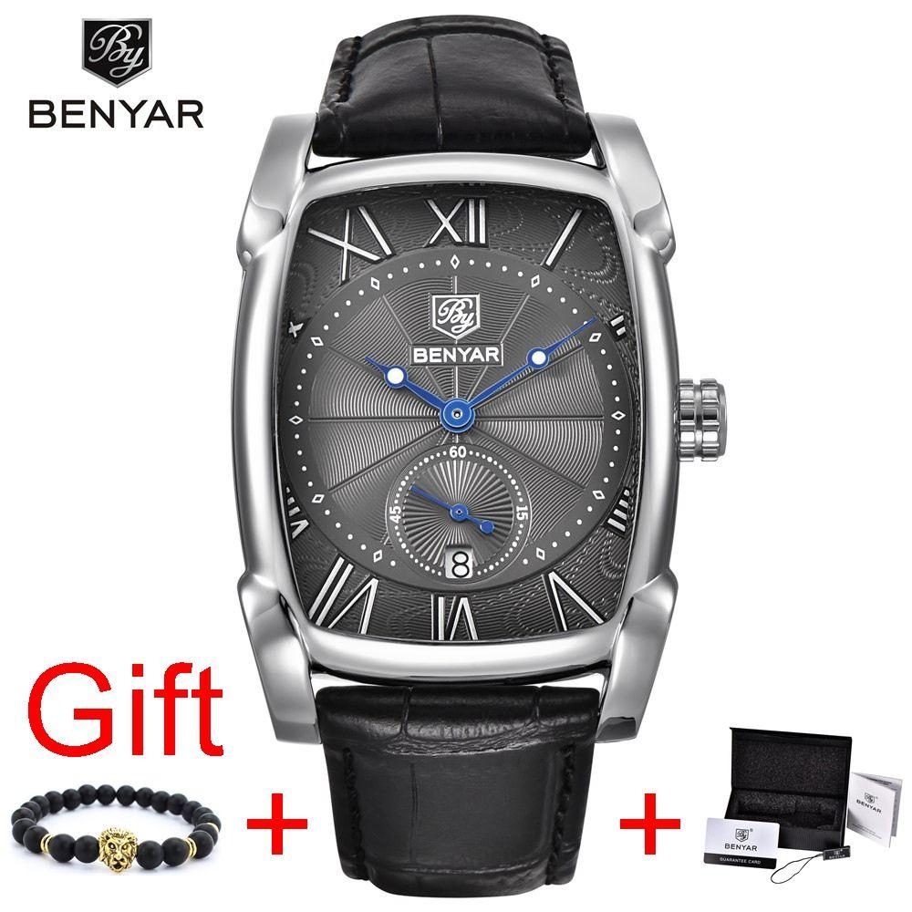 <font><b>Benyar</b></font> Square Men Watch Business Waterproof Quartz Leather Wrist Watch Men Clock Male Relogio Masculino hodinky erkek kol saati