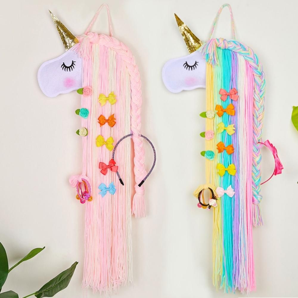 Fioday Unicorn Hair Bows Storage Belt for Girls Hair Clips Barrette Hairband Hanging Organizer Strip Holder for Hair Accessories