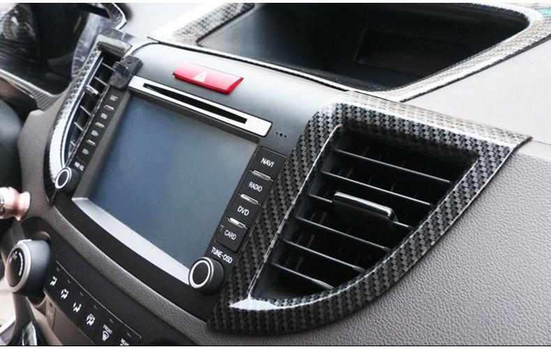 Приборной панели центрального розетка кондиционера украшения из углеродного волокна крышка 2 шт. для Honda 2012 2013 2014 2015 2016 CRV аксессуары