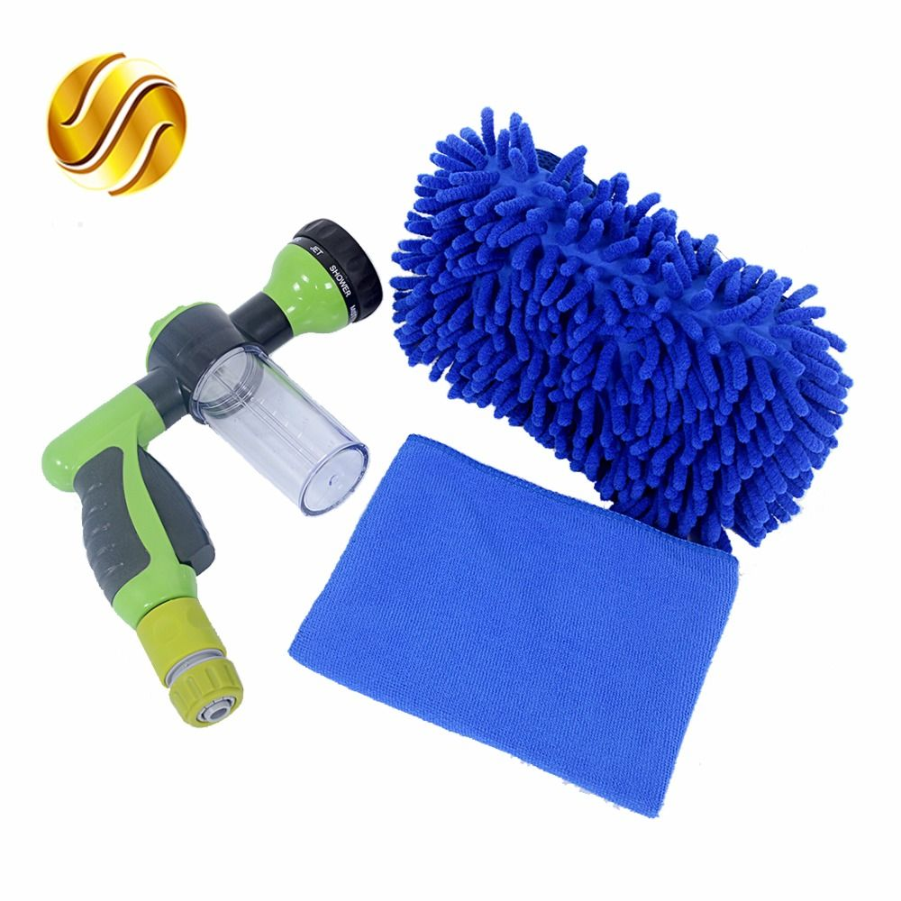 SALBEITECH Car High Pressure Foam Water Gun + Connector + Car Wash Gloves+ Car Cleaning Washing Cloth