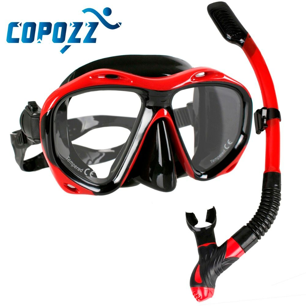 Copozz Brand Professional Scuba Diving Mask Snorkels Mask Equipment Goggles Glasses Diving Swimming Easy Breath <font><b>Tube</b></font> Set
