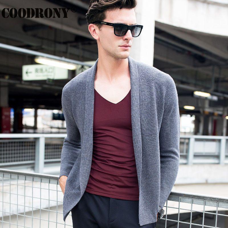 Autumn Winter Thick Warm Long Mens Cardigans Knitted Cashmere Sweater Coats Men Fashion Big Collar Merino Wool Cardigan Men 6341