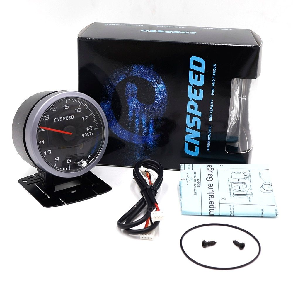 CNSPEED 60MM Car Auto Voltmeter 8-18 Volt Voltage Gauge Volts Voltage Black Face With White& Amber Lighting Car meter/Auto Gauge