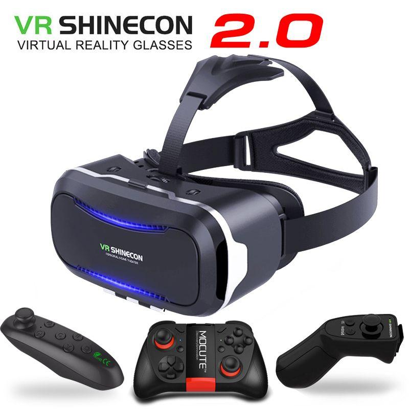 Nouveau Original VR Shinecon II 2.0 casque carton réalité virtuelle 3D lunettes téléphone Mobile vidéo film pour Smartphone avec manette