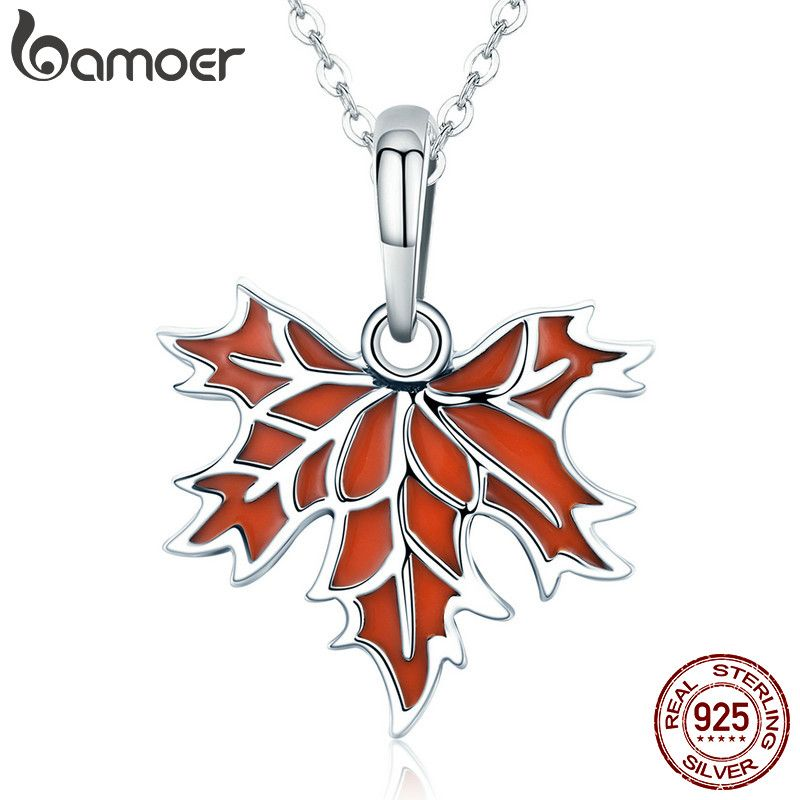 BAMOER 100% 925 Sterling Silver Autumn Maple Tree Leaves Pendant Necklace for Women Luxury Sterling Silver Jewelry Gift CC585