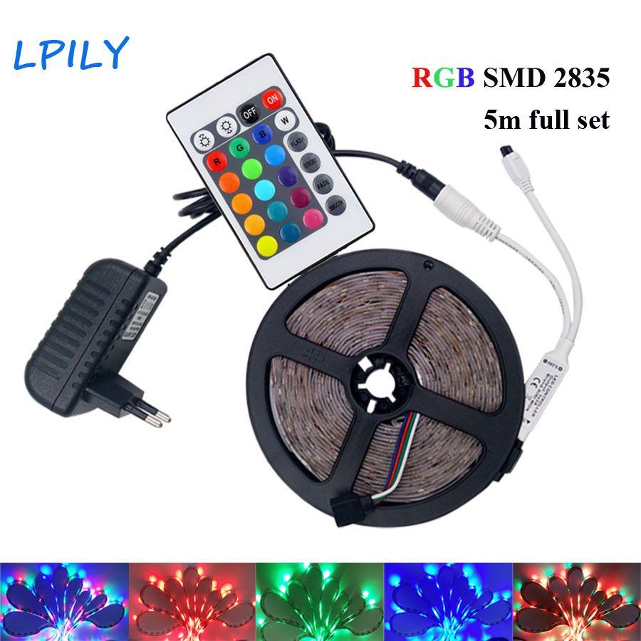 IPILY 5M LED Strip RGB led tape light rgb led dc 12v power supply rgb 2835 led strip Waterproof with 24 key controller IP20 IP65