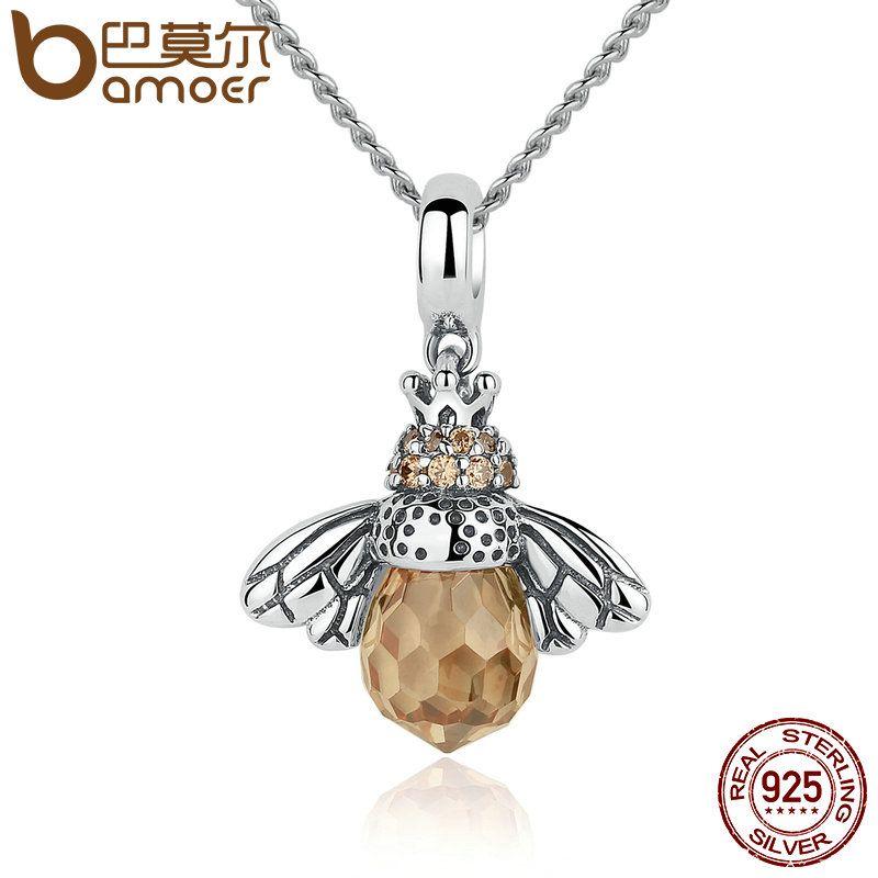 BAMOER 925 Sterling Silver Lovely Orange Bee Animal <font><b>Pendants</b></font> Necklace for Women Fine Jewelry CC035