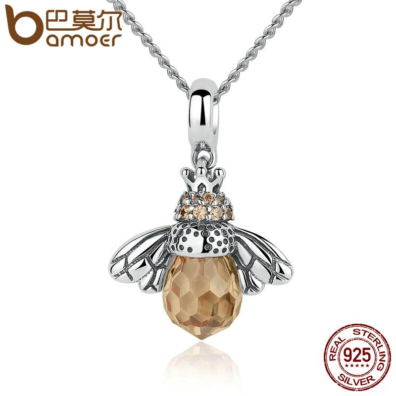 Bamoer plata esterlina 925 encantadora naranja abeja animal Colgantes Collar para las mujeres Joyería fina cc035