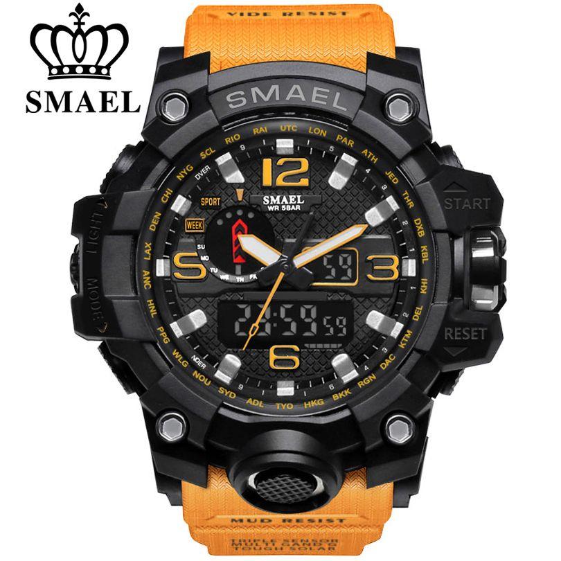 SMAEL Sport Watch for Men Waterproof Quartz Analog LED Electronic Men's Wristwatch Clock Man <font><b>montre</b></font> homme Male Wrist Watches