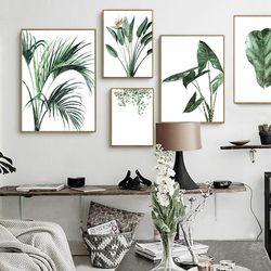 Акварельные зеленые растения лист холст картины Северный, скандинавский офисный настенный Арт плакат картины для гостиной домашний декор