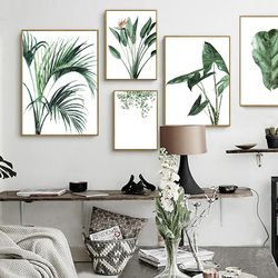 Watercolor Green Plants Leaf Canvas Paintings Nordic Scandinavian Office Wall Art Poster Pictures for Living Room Home Decor