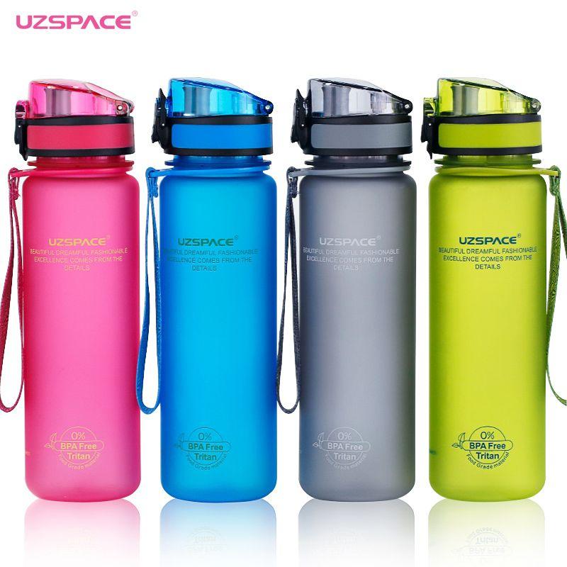Uzspace Sport Bouteille D'eau Tritan Matériel En Plastique Verres protéines shaker Camping Randonnée Ma Boisson Bouteille 500 ml 1000 ml BPA livraison