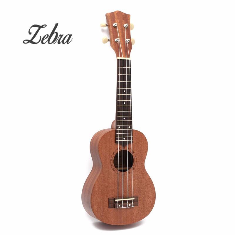 Zebra 21 inch 15 Frets 4 Strings Sapele Ukulele Guitar Uke Musical Instrument Semi-closed Rosewood Fingerboard Hawaiian Guitar