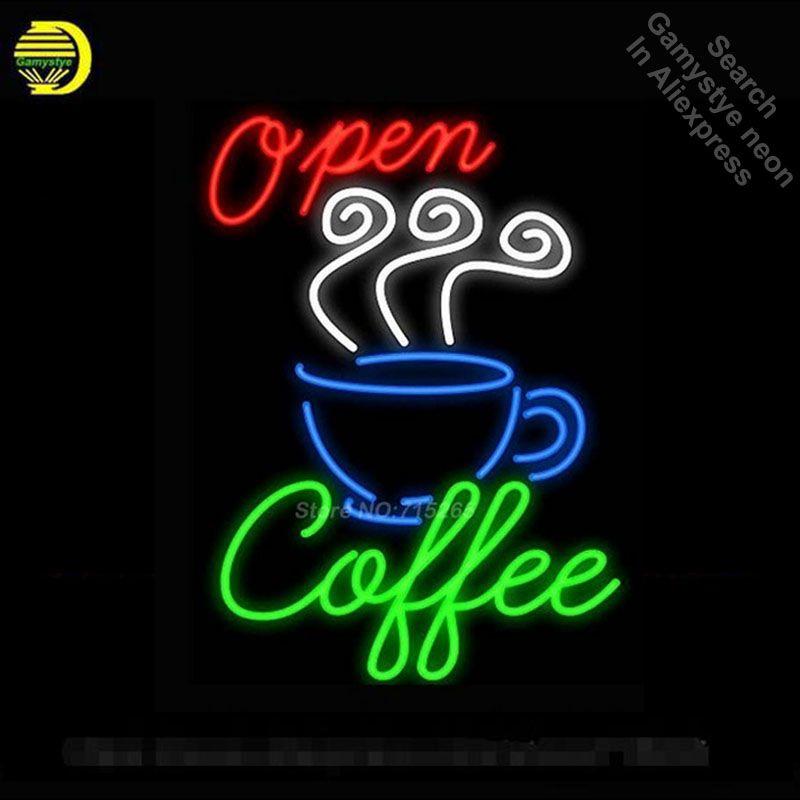Open Kaffee neon zeichen Handcrafted Bier Bar Pub Neon Lampe Shop Display Design Schmücken Echt Glasrohr Neon Licht Zeichen 19*15 VD