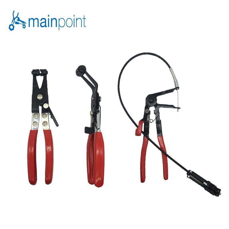 Mainpoint 3Pcs Auto/Car Repairs Hand Tools Bent Nose Hose Clamp Pliers Cable Type Flexible Wire Long Reach Hose Clip Pliers