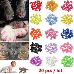 Nicrew 20 piezas Soft silicona suave casquillos del clavo del gato colorido gato Paw Claw mascotas gato del Protector cubierta del clavo del gato grooming Supplies