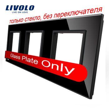Livolo Luxe Noir Perle Cristal En Verre, standard de L'UE, Triple Panneau de Verre Pour Mur Tactile Interrupteur, VL-C7-SR/SR/SR-12