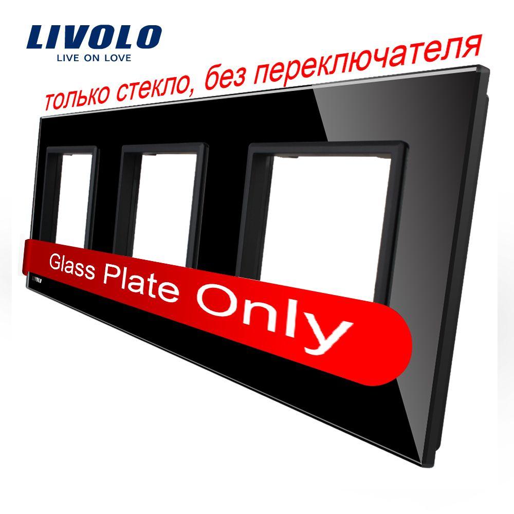 Livolo <font><b>Luxury</b></font> Black Pearl Crystal Glass, EU standard, Triple Glass Panel For Wall Touch Switch,VL-C7-SR/SR/SR-12
