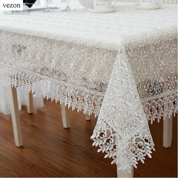 Vezon Blanc Europe Élégant Polyester Satin Pleine Dentelle Nappe Nappe En Organza De Mariage Couverture Superpositions Décor À La Maison Textile