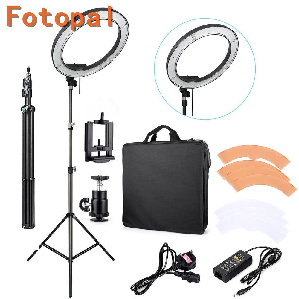 Fotopal Dimmable 240 LED Studio Camera Ring Light Photo/Phone/Video Light Annular Lamp With Tripods Selfie Stick Rng Fill Light