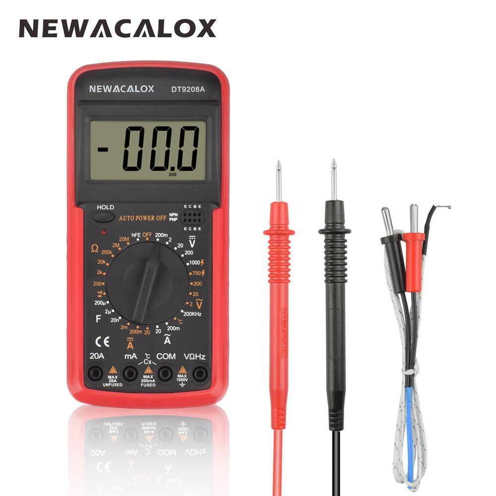 NEWACALOX LCD 1000 Degree Temperature Tester Digital Multimeter AC/DC Voltage Current Resistance Capacitance IC Measurement Tool