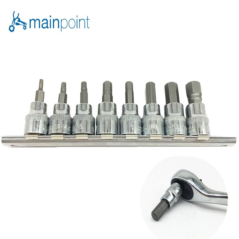 Mainpoint 8Pc Hex Bit Socket Allen Key Ratchet Drive Adapter Set 3/8Socket Wrench Car Hand Tools Repair Kit Cr-V Steel Bits