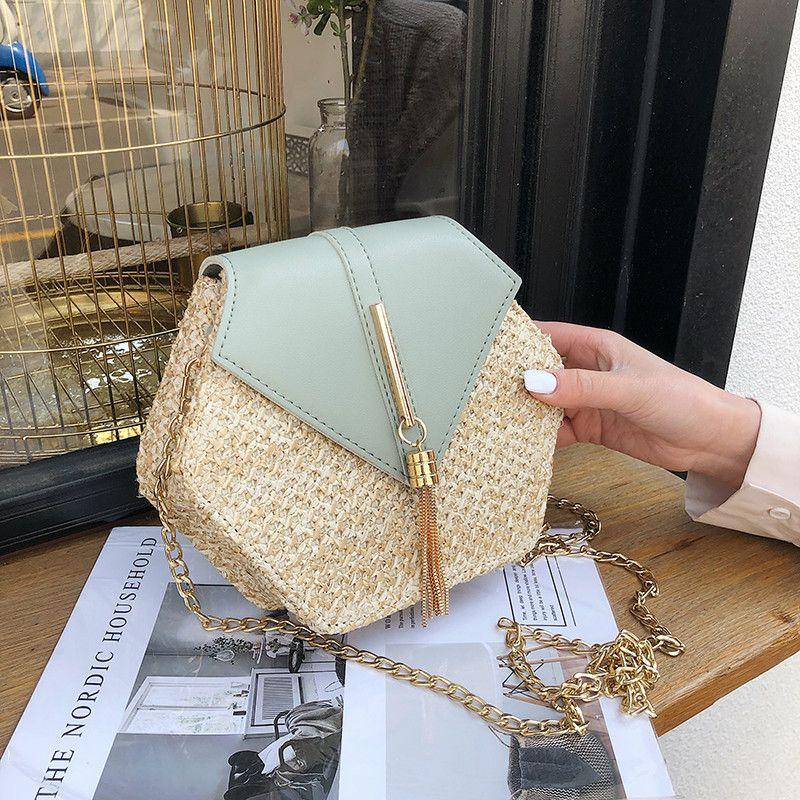 Hexagone Style paille + cuir sac à bandoulière femmes été rotin sac à la main tissé plage cercle bohême mode chaîne sac à bandoulière