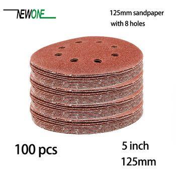 100 pcs 125mm Crochet et Boucle Abrasifs Sable Papier 5 pouce rouge Ponçage Disque avec 8 trous Grains 40 ~ 3000 disponible