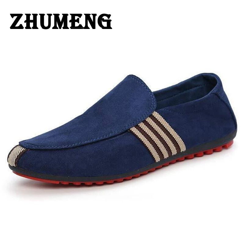 2017 Man Shoes Walking Ventilation Casual Male Men sapato masculino Red Bottom Canvas Slip Driving Moccasin Loafers Flat Shoes