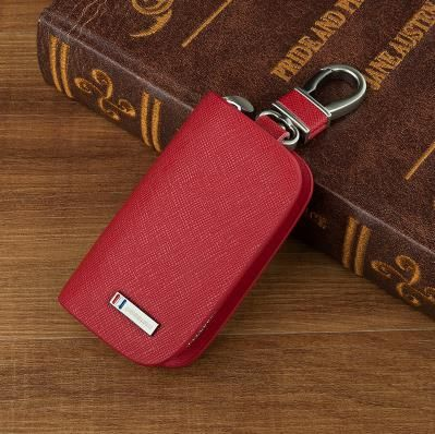 New Red Frost Leather Car key holder Key ring For Lexus Chevrolet Citroen Ford Acura Infiniti Nissan Audi BMW Buick Cadillac Key